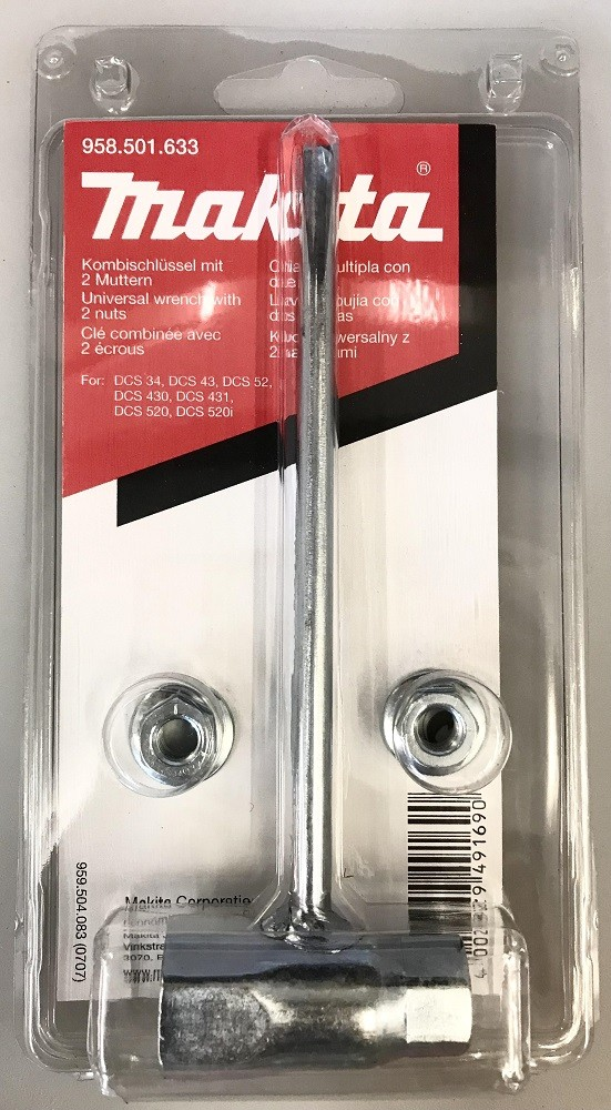 Makita Universal Wrench and Two Nuts 958.501.633